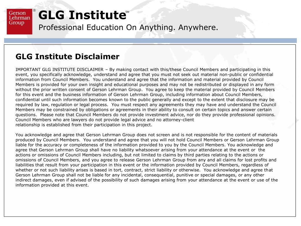 GLG Institute Disclaimer