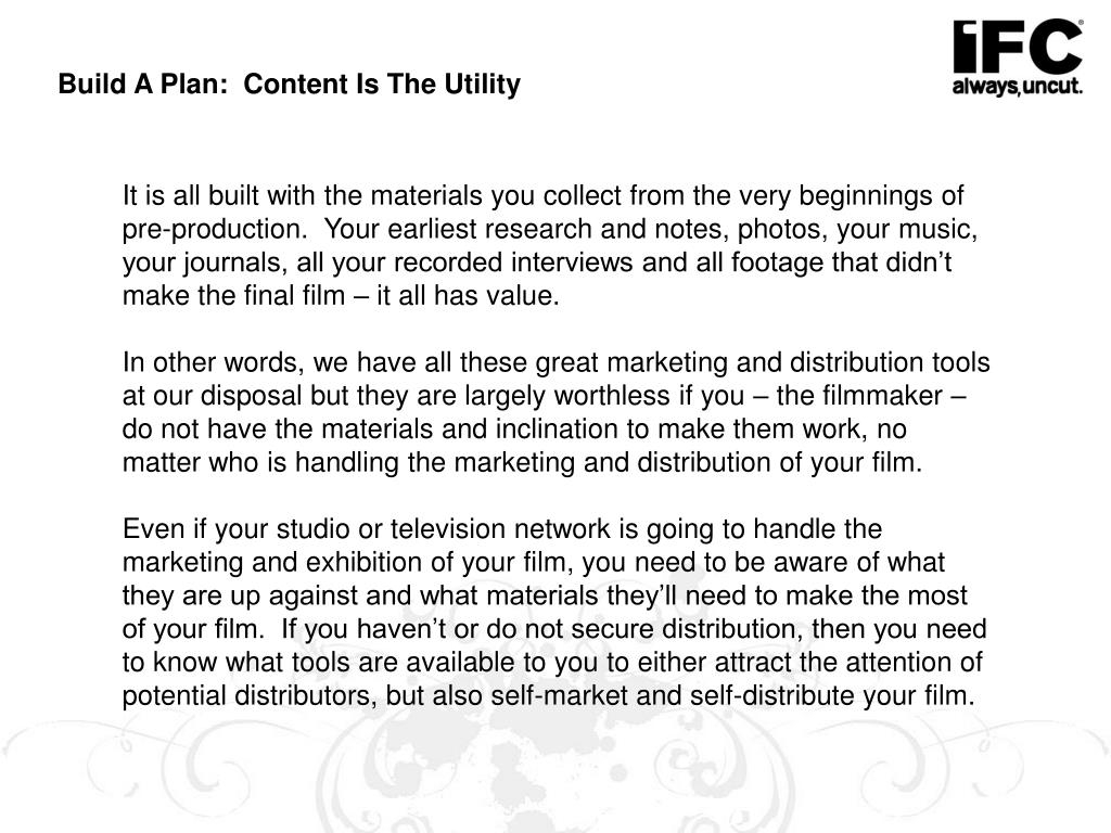 Build A Plan:  Content Is The Utility