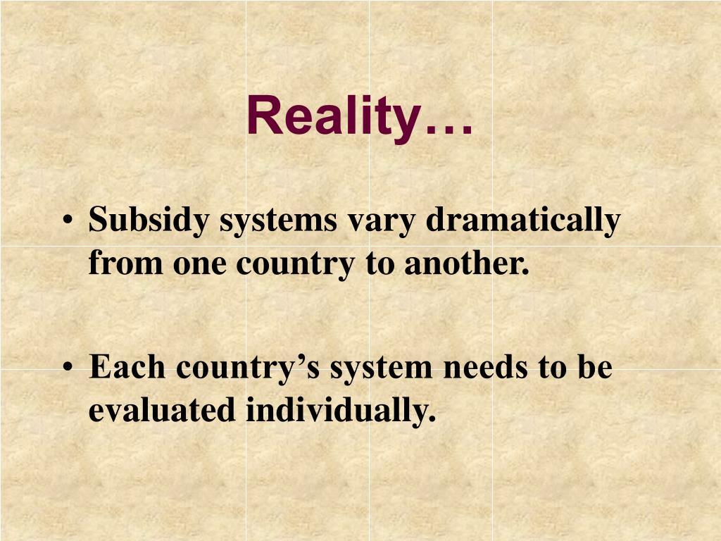 Reality…
