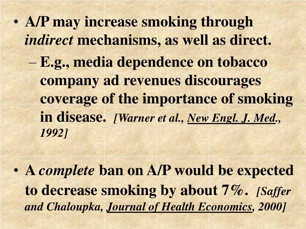 A/P may increase smoking through