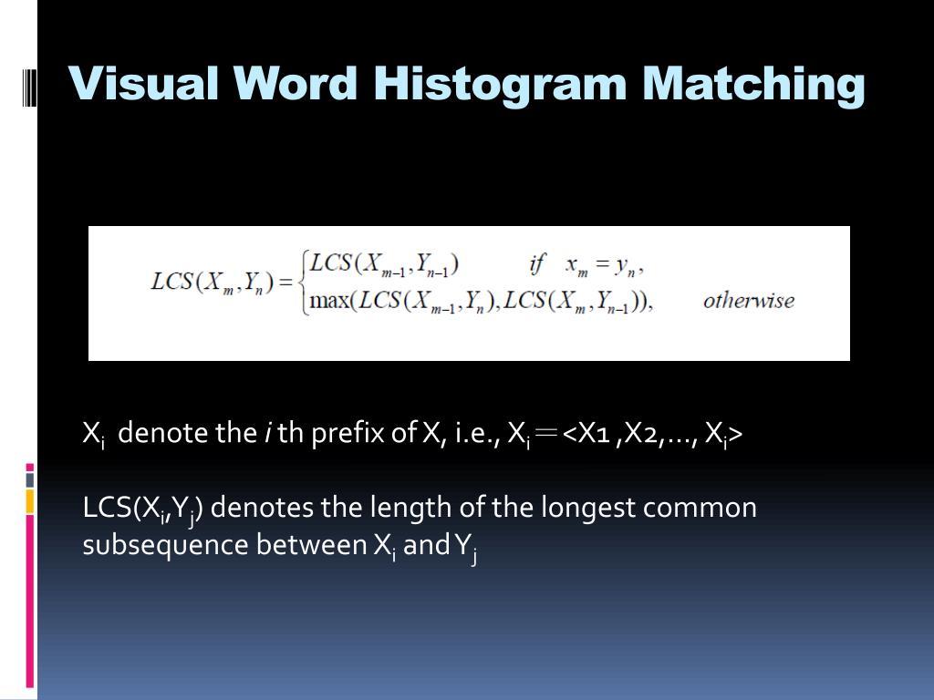 Visual Word Histogram Matching