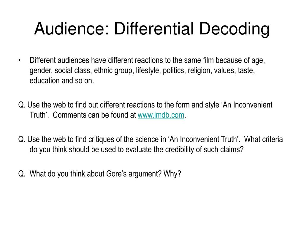 Audience: Differential Decoding