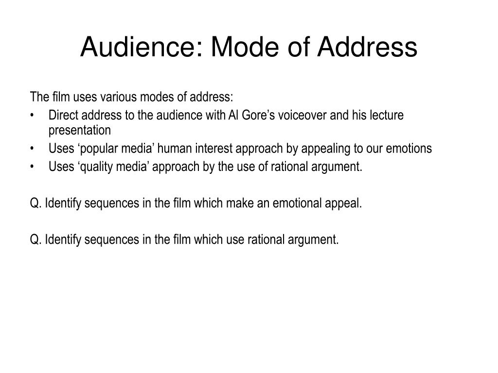 Audience: Mode of Address