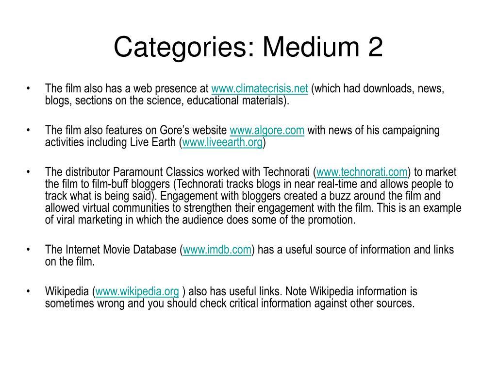 Categories: Medium 2