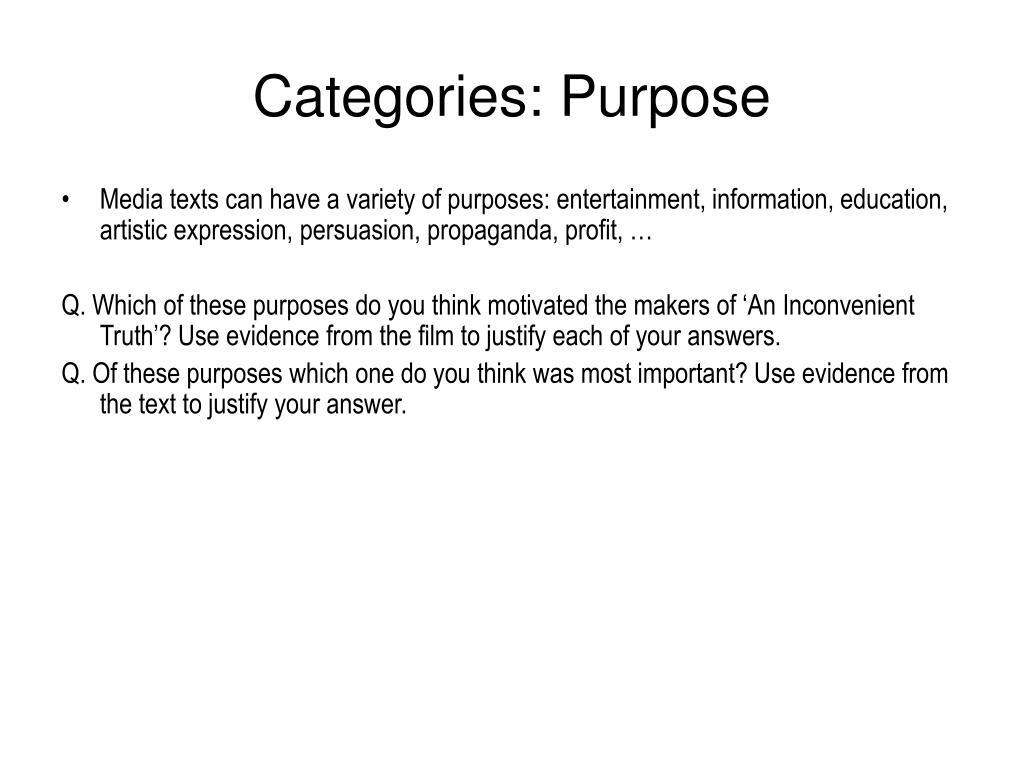 Categories: Purpose