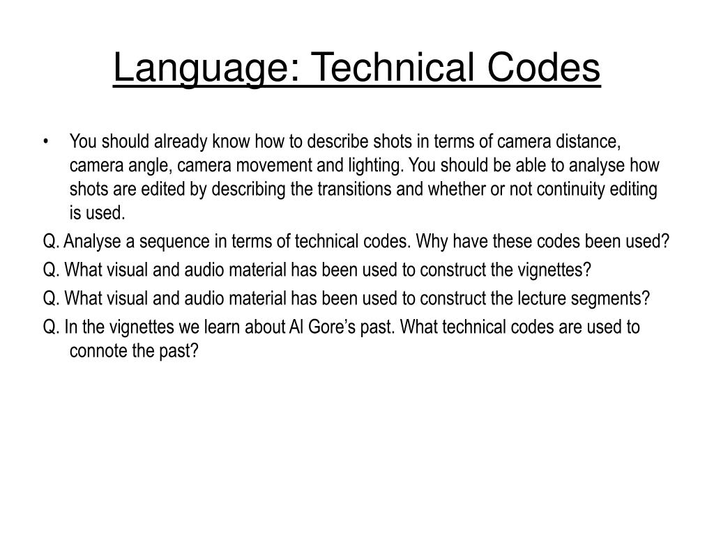 Language: Technical Codes
