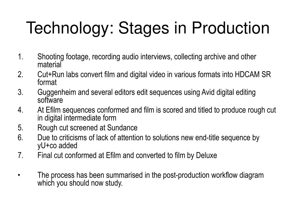 Technology: Stages in Production