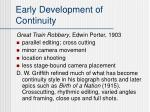 early development of continuity
