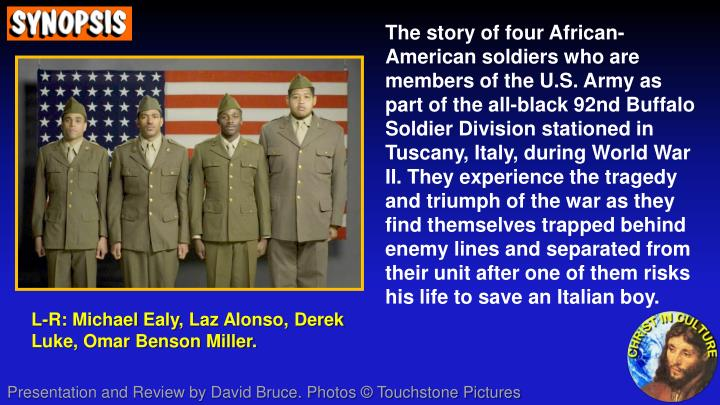 The story of four African-American soldiers who are members of the U.S. Army as part of the all-blac...