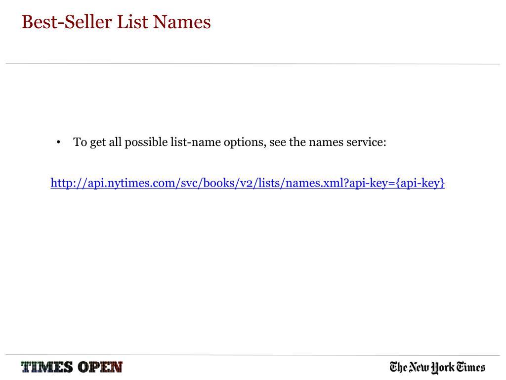 Best-Seller List Names