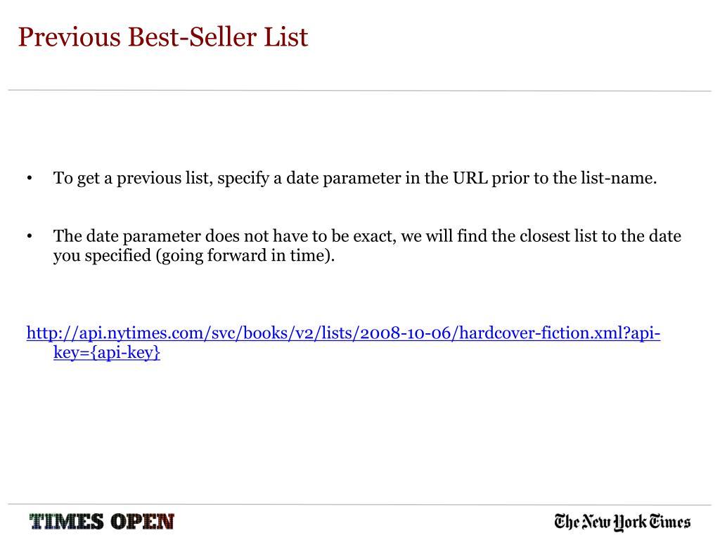 Previous Best-Seller List