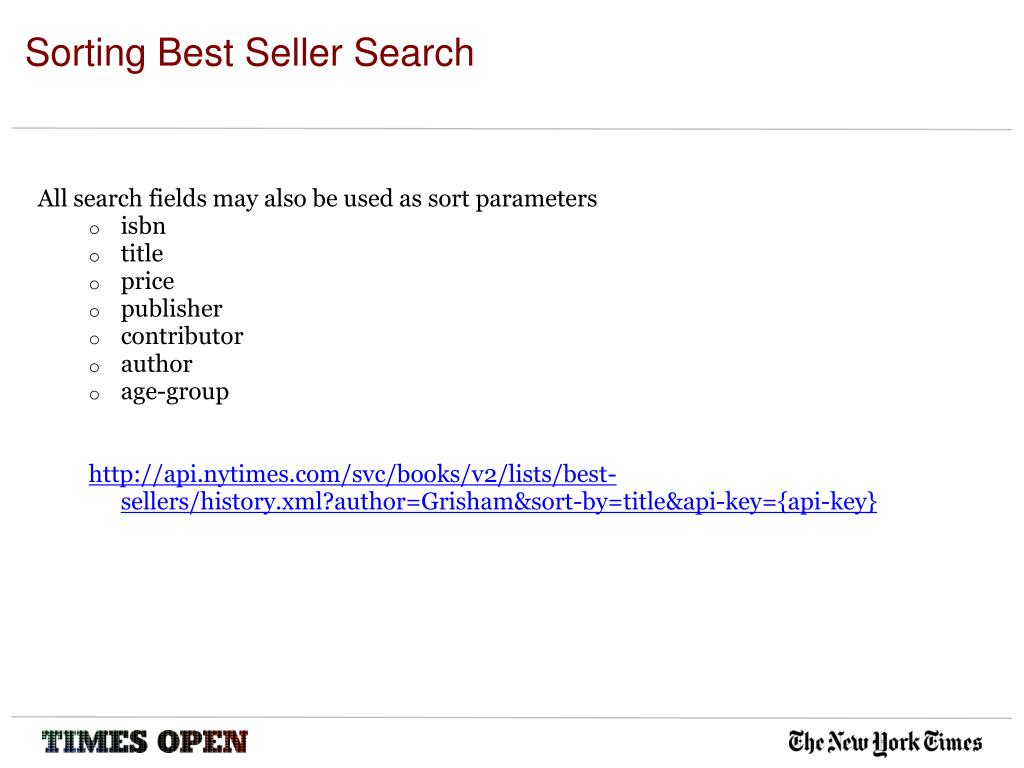 Sorting Best Seller Search