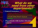 what do we need from other departments