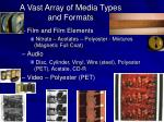 a vast array of media types and formats