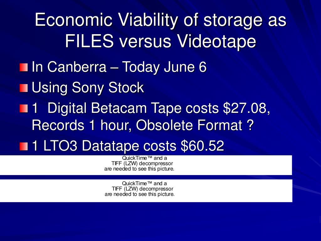 Economic Viability of storage as FILES versus Videotape