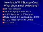 how much will storage cost what about small collections