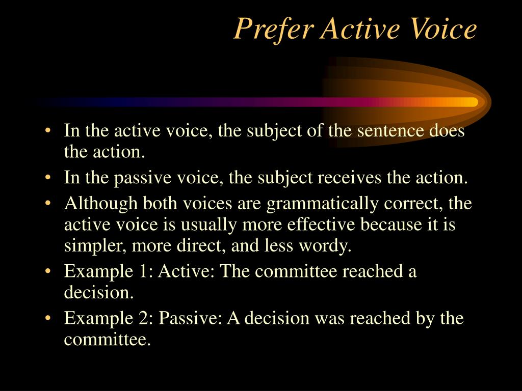 Prefer Active Voice