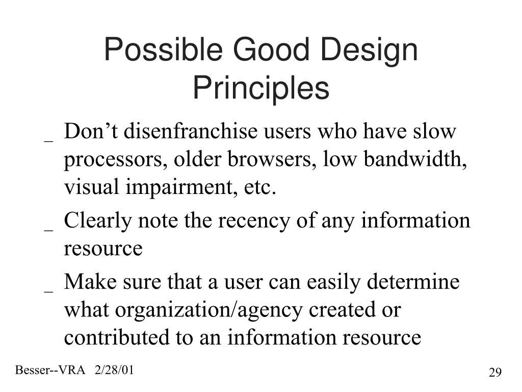 Possible Good Design Principles