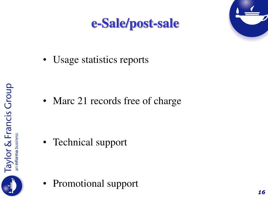 e-Sale/post-sale