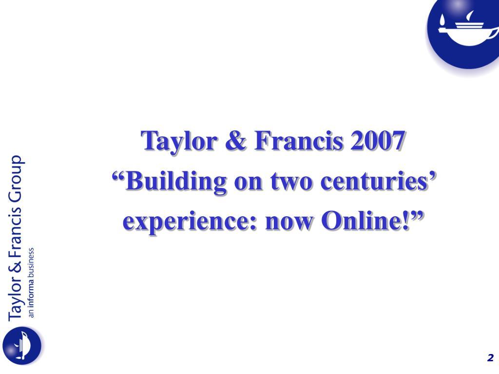 Taylor & Francis 2007