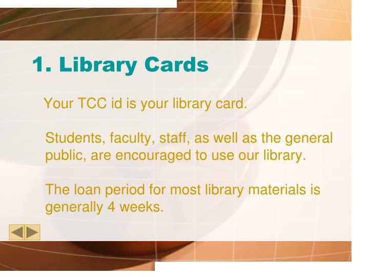 1 library cards