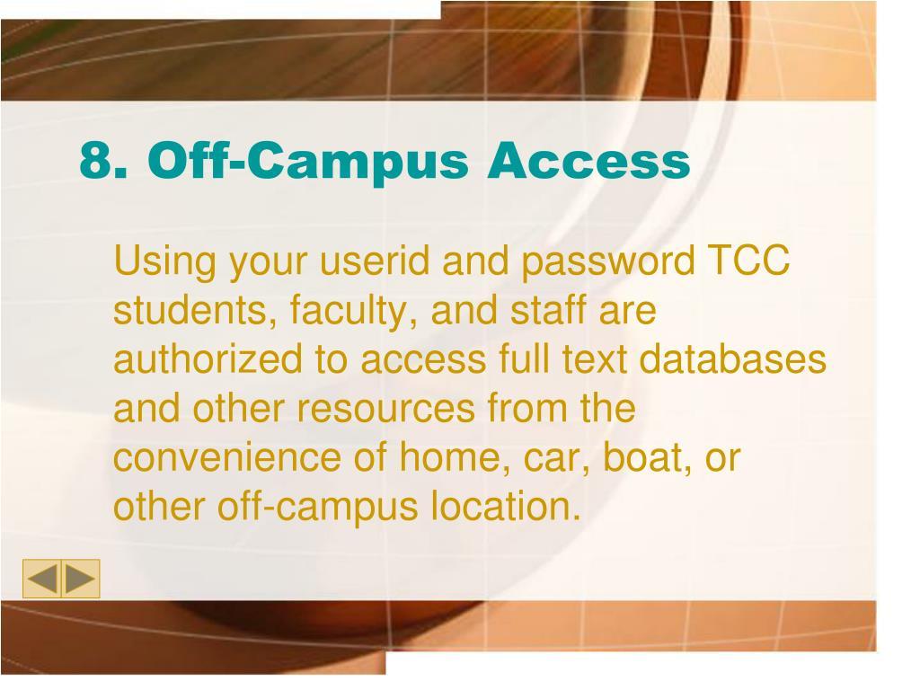 8. Off-Campus Access