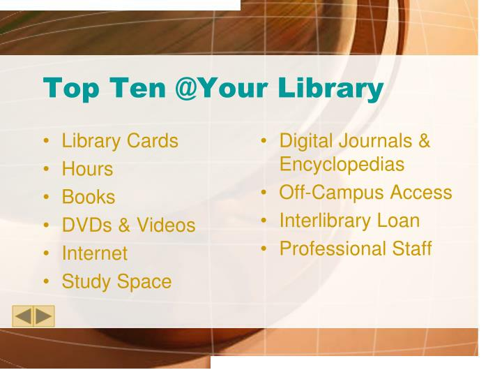 Top ten @your library