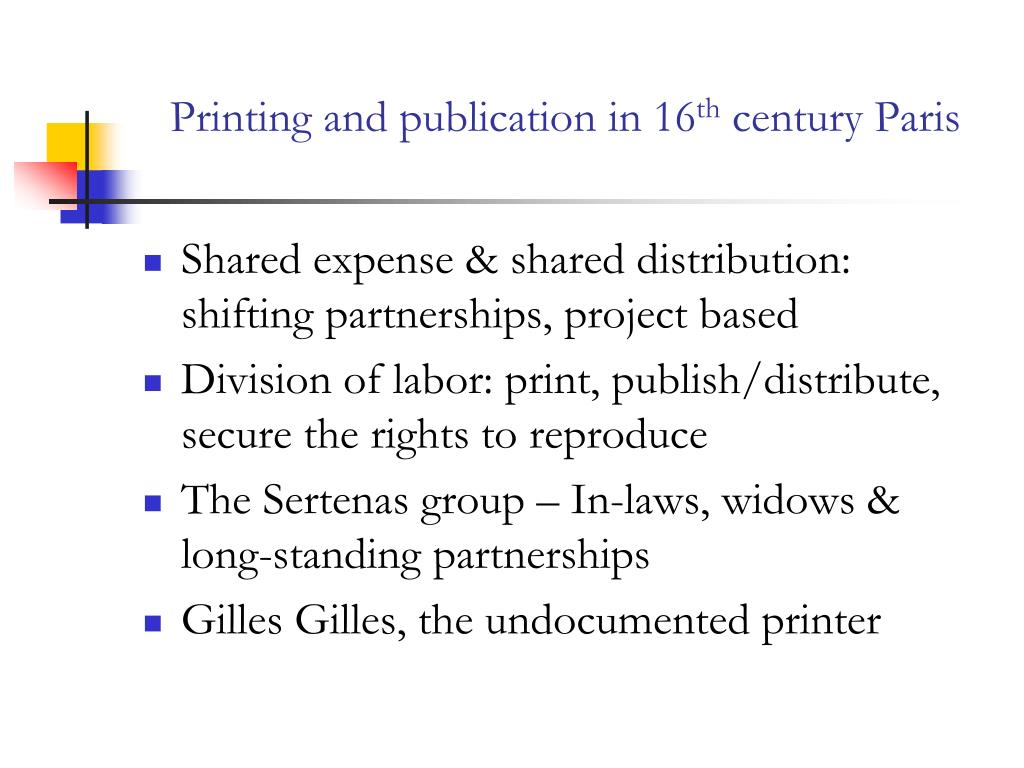 Printing and publication in 16