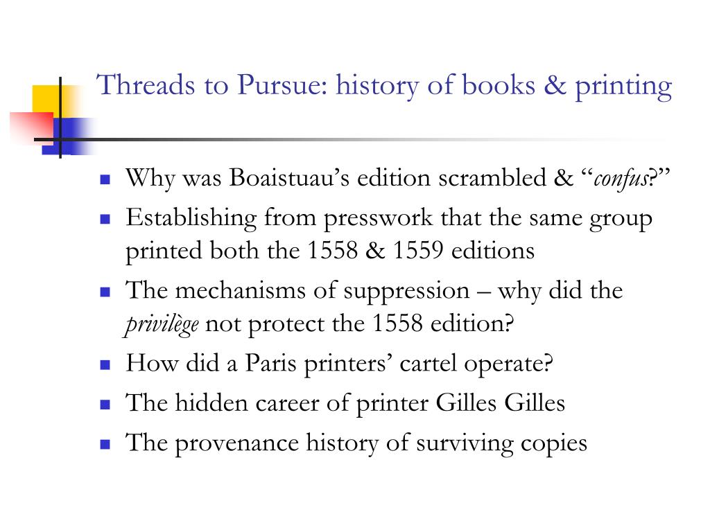 Threads to Pursue: history of books & printing