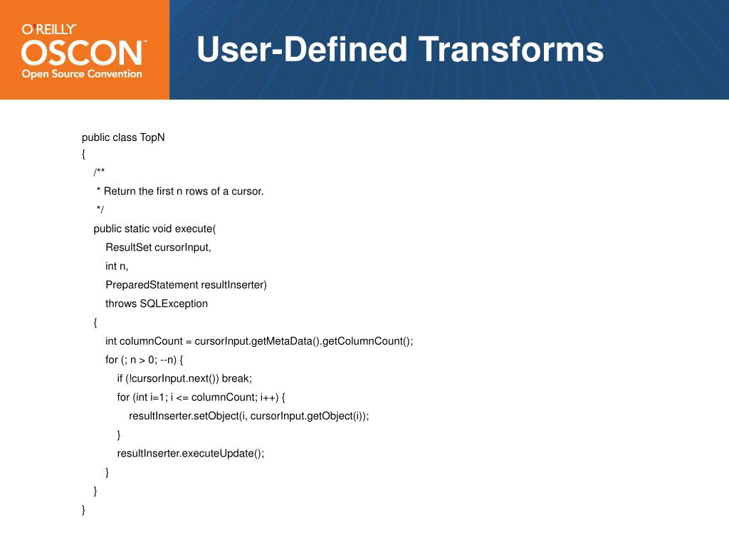User-Defined Transforms