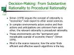 decision making from substantive rationality to procedural rationality
