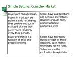 simple setting complex market22