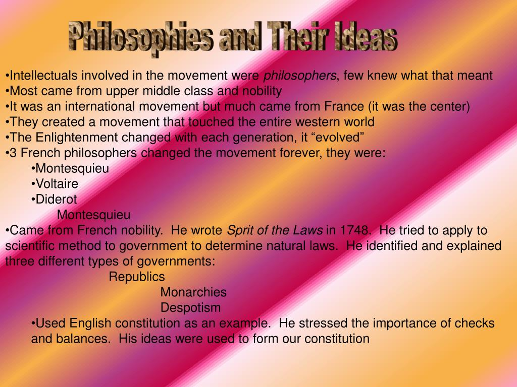 Philosophies and Their Ideas