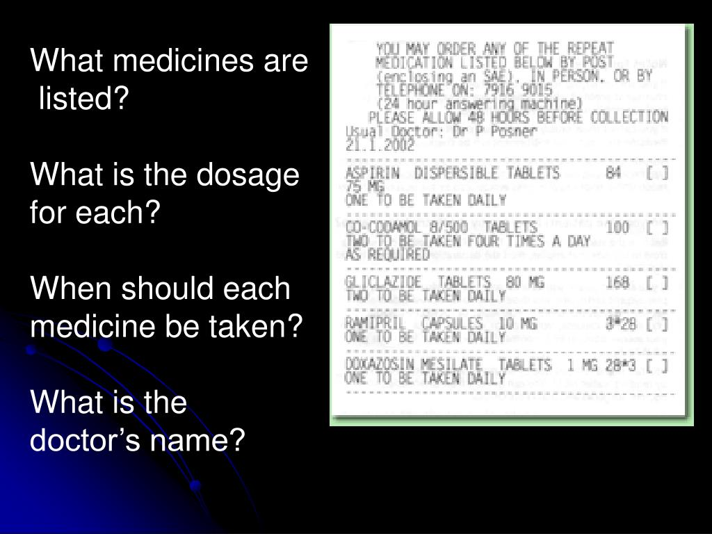 What medicines are