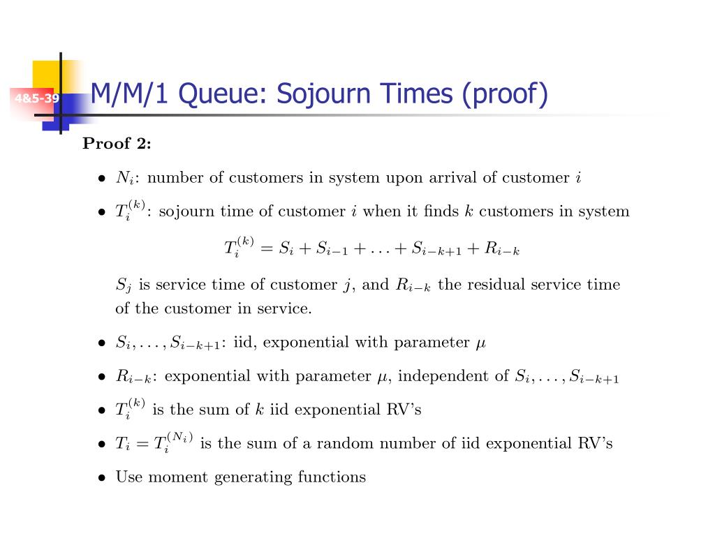 M/M/1 Queue: Sojourn Times (proof)