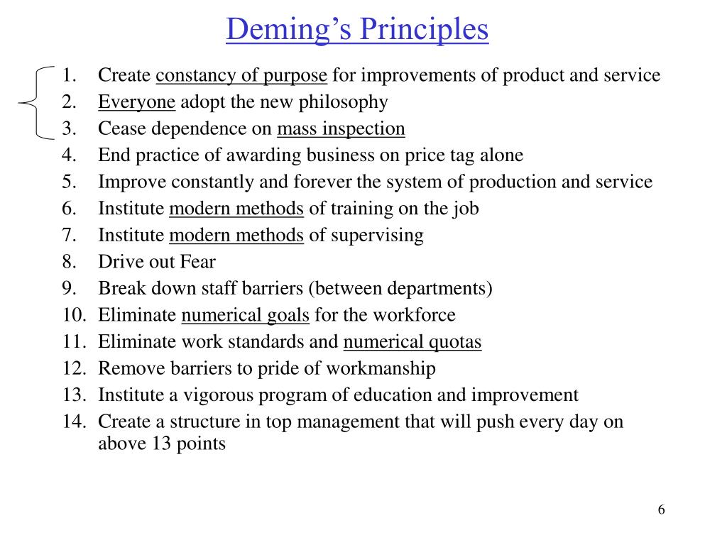deming principles Deming's 14 principles case study after reviewing the video, i had a much better understanding of deming's 14 principles throughout the viewing, i found that although deming's principles, when implemented, can bring great return, it is also a very timely process that requires every.