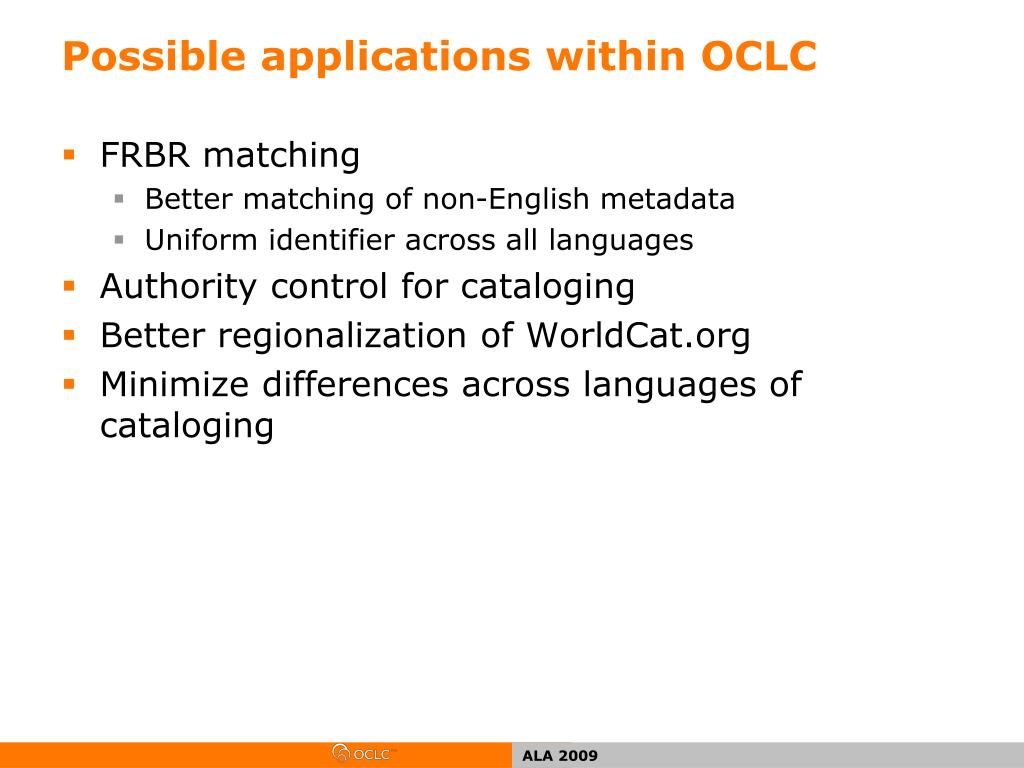 Possible applications within OCLC