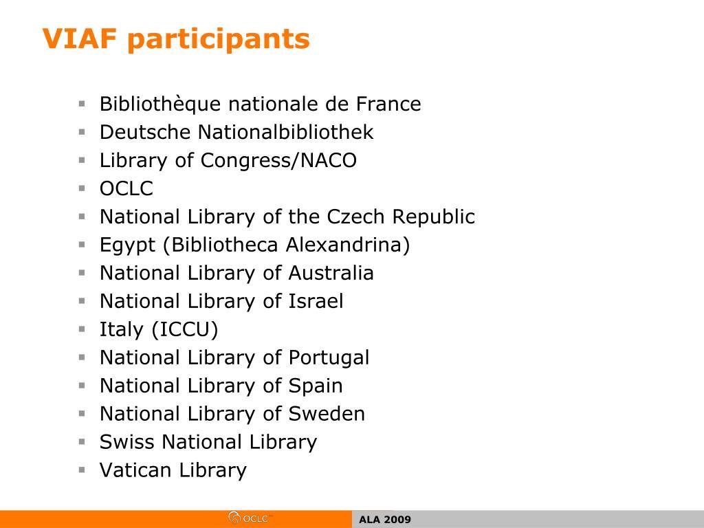 VIAF participants