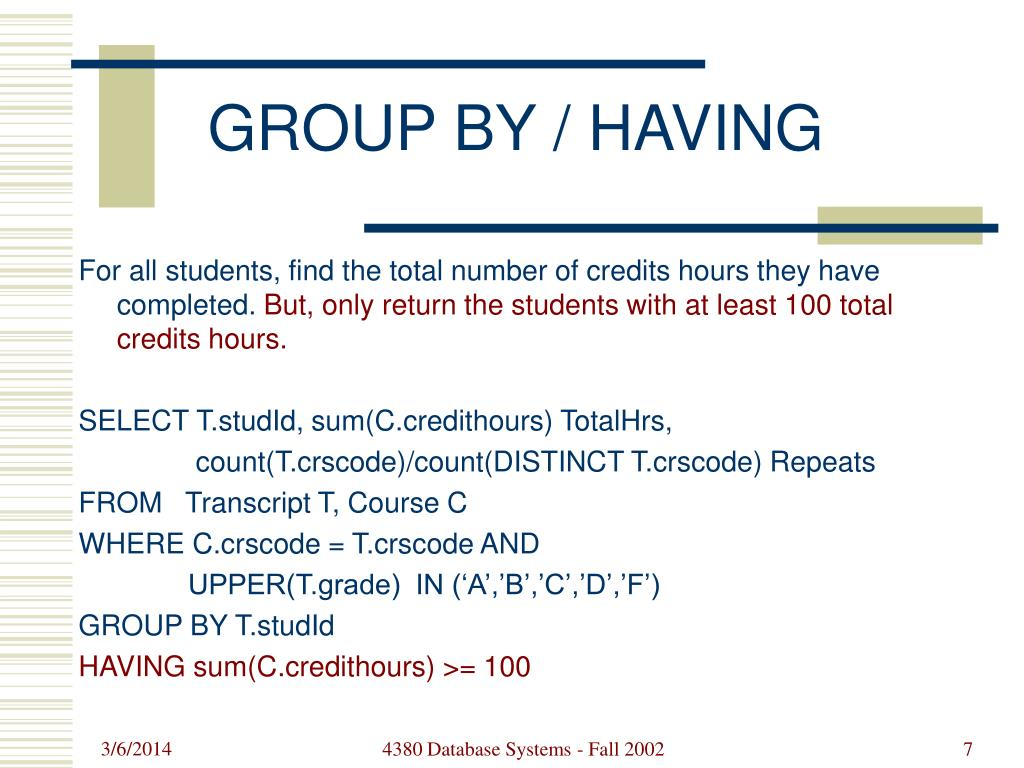 GROUP BY / HAVING