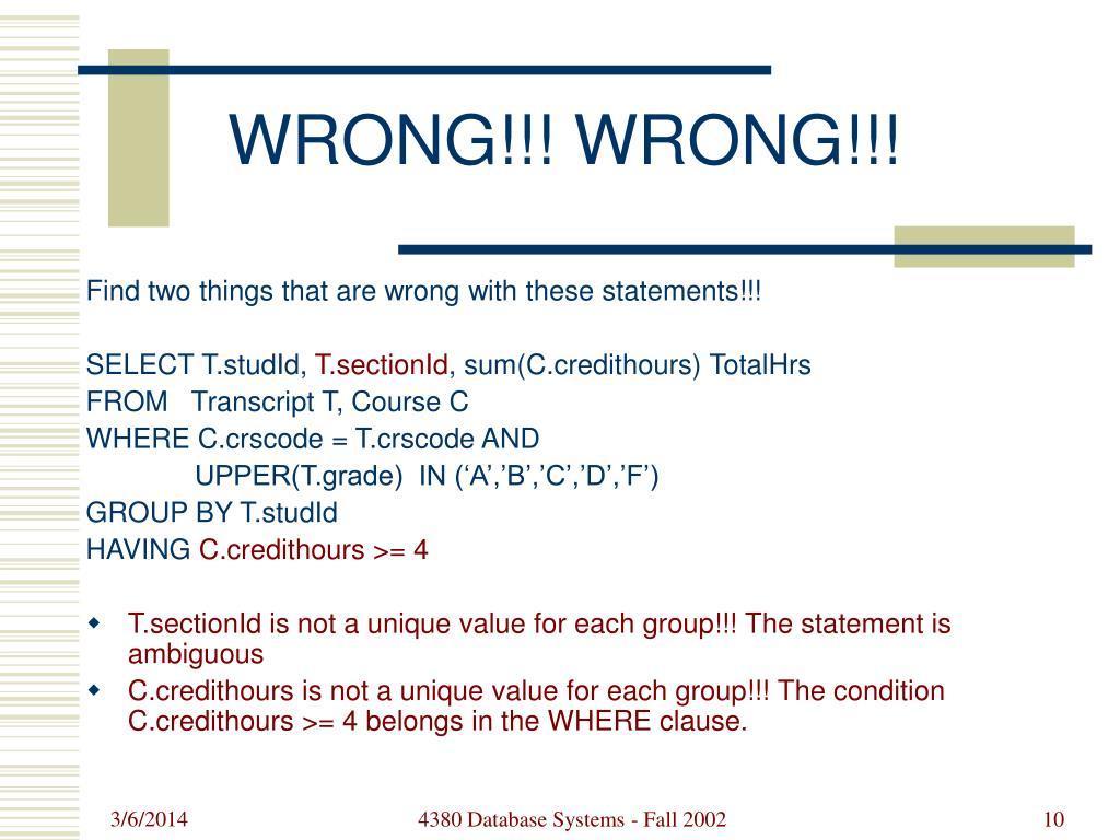 WRONG!!! WRONG!!!