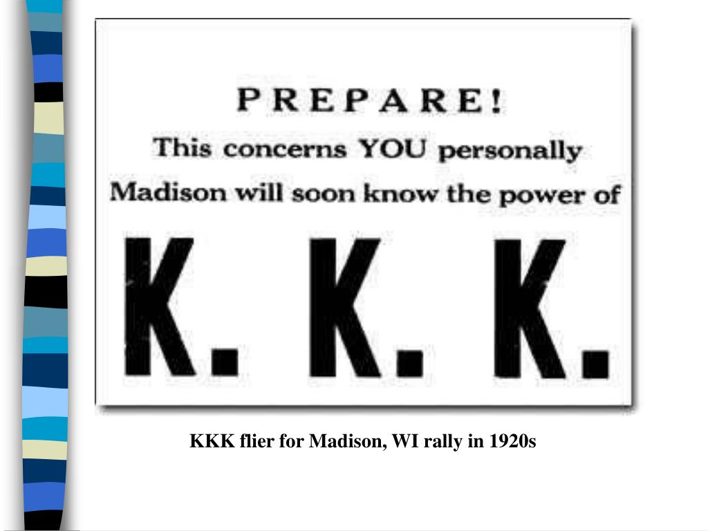 KKK flier for Madison, WI rally in 1920s