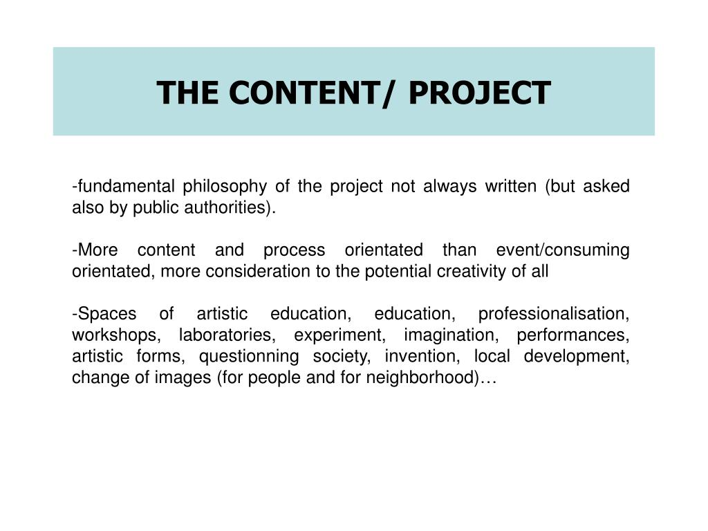 THE CONTENT/ PROJECT