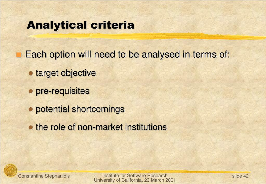 Analytical criteria