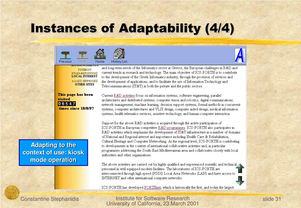 Instances of Adaptability (4/4)