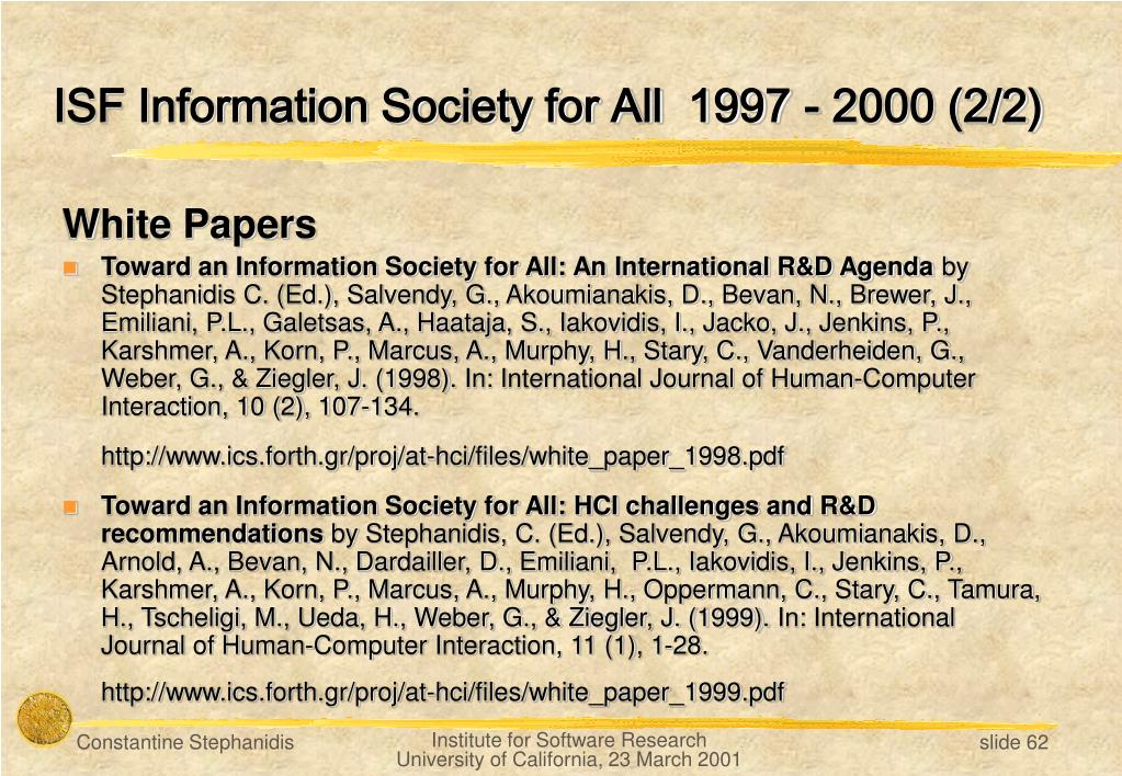 ISF Information Society for All  1997 - 2000 (2/2)