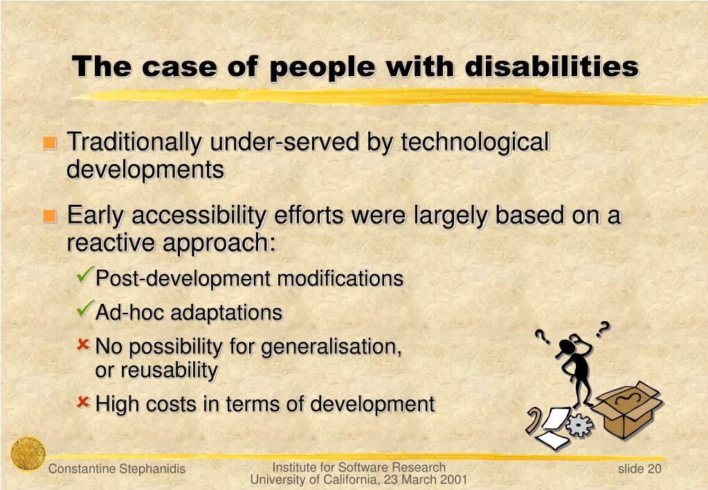 The case of people with disabilities