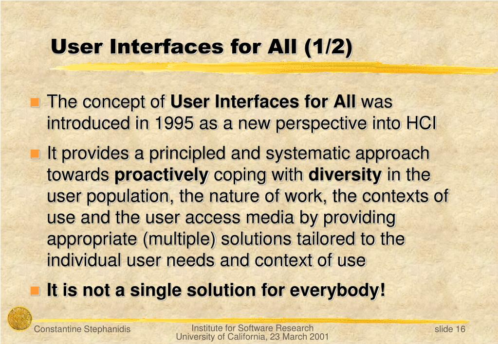 User Interfaces for All (1/2)