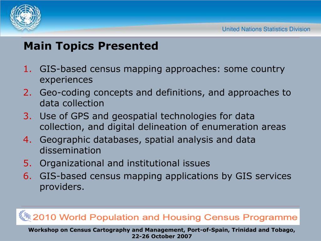 Main Topics Presented