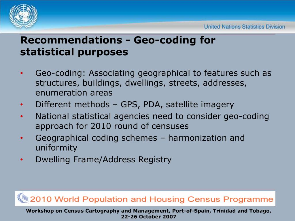 Recommendations - Geo-coding for statistical purposes
