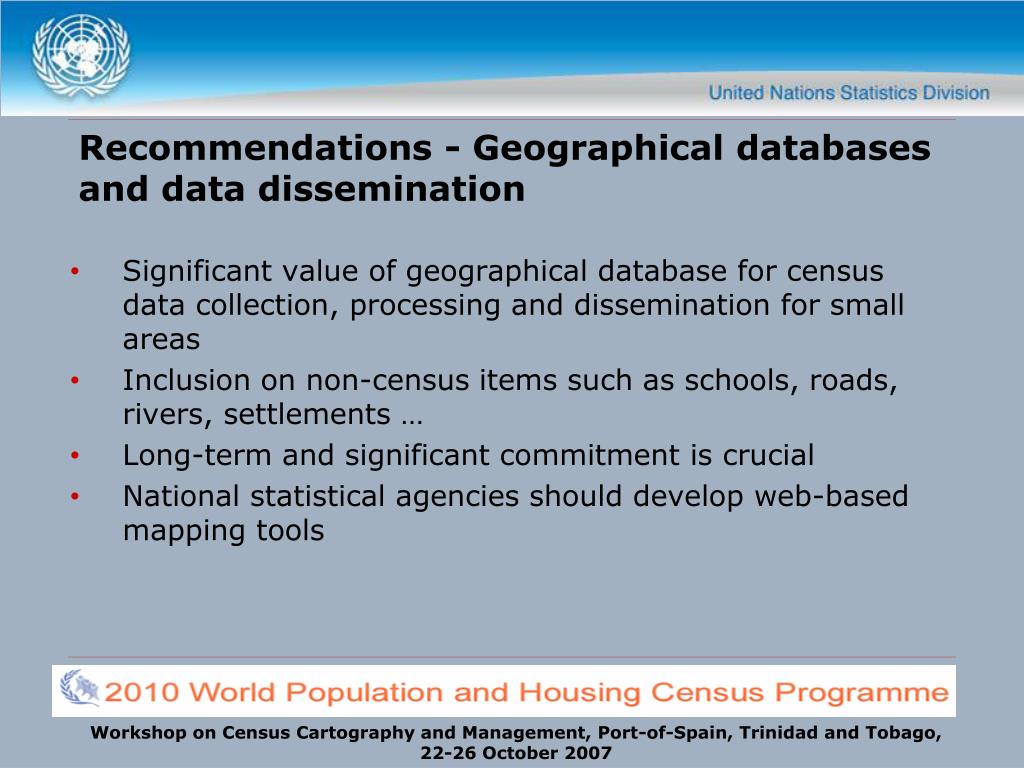 Recommendations - Geographical databases and data dissemination